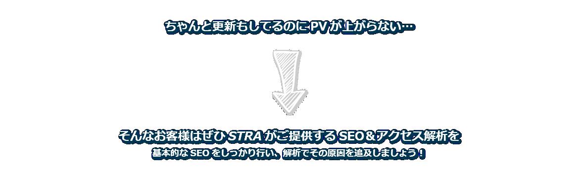 ちゃんと更新もしてるのにPVが上がらない…そんなお客様はぜひSTRAがご提供するSEO&アクセス解析を